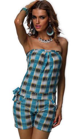 #7222 - Strapless Playsuit - Teal Tartan - Available in Sizes 12/16