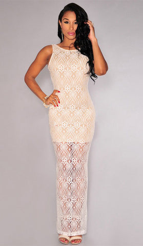 #80061 - Long Ivory Lace Dress - Available in size 8/12