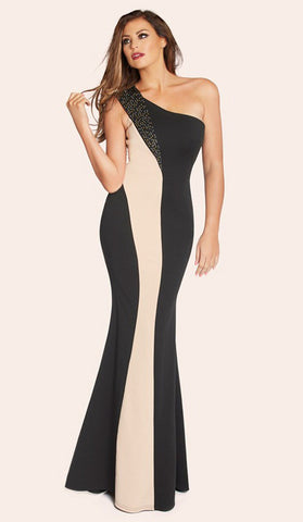 #80164  Black & Tan Evening Dress - Available in Sizes 10/12, 12/14, 16,18