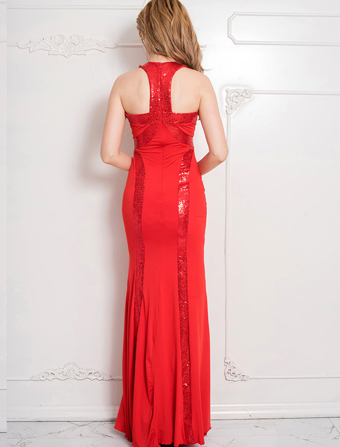 80189 Red sequined evening gown 10/12 – Sophisticlad