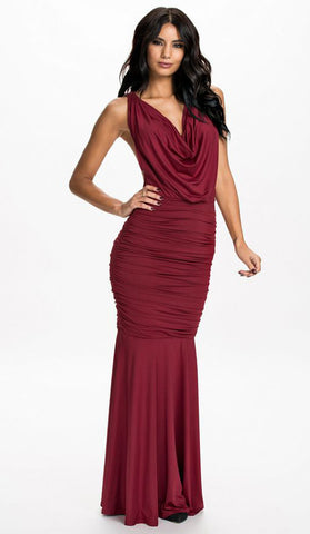 #9336 - Long Burgundy Dress - Available in Sizes 6/10
