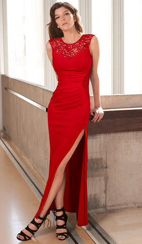 #9540 - Long Red Dress with Side Split - Available in Sizes 8/10