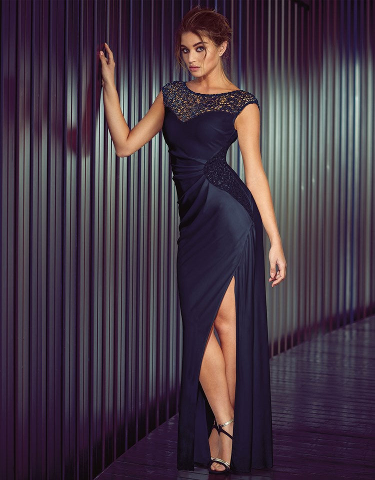 9540 Navy Blue Sequined evening gown 6/8 8/10 – Sophisticlad