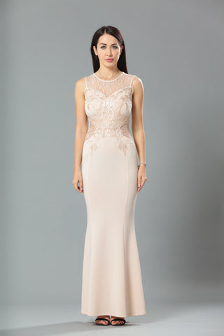 24196 Cream Lace Evening Gown