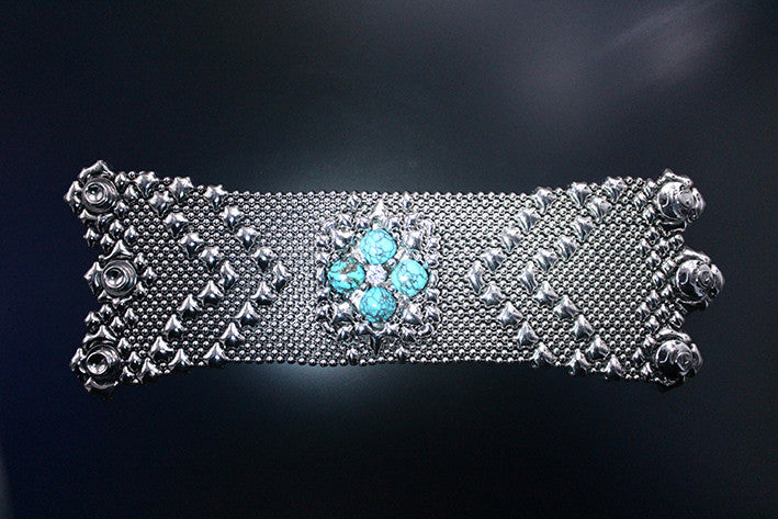 PRB1-AS TUQ – Antique Silver Finish and Turquoise Bracelet