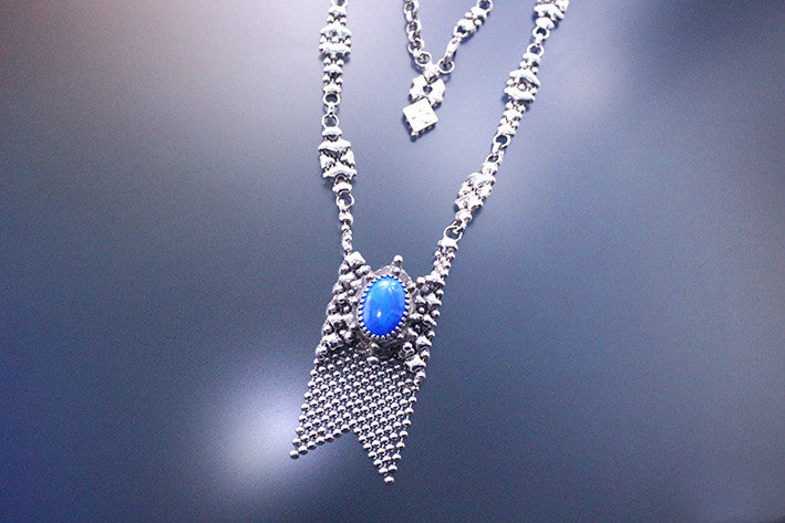 SG Liquid Metal RTN10-AS LAPIS – Antique Silver and Lapis Lazuli Stone Necklace