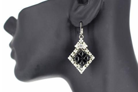 PR-E1 – Antique Silver and Onyx Earring