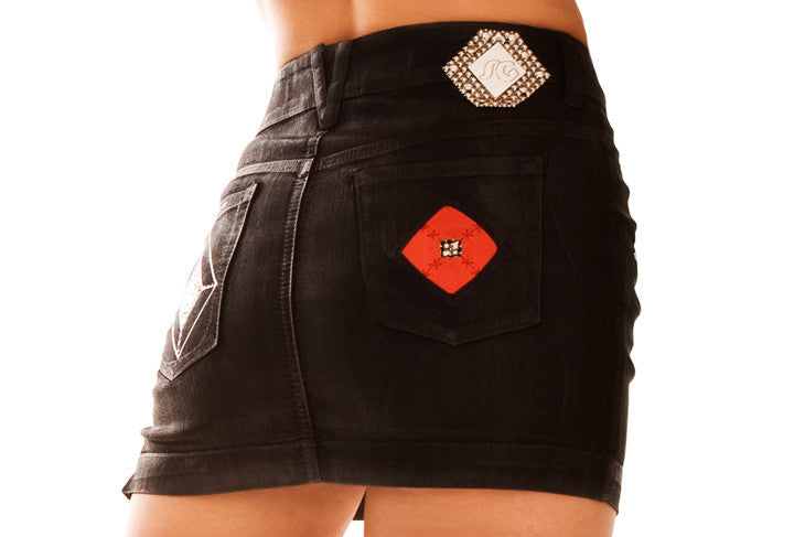 SG Liquid Metal 301 Black Polish Denim Mini Skirt by Sergio Gutierrez