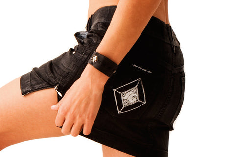 301 Black Polish Denim Mini Skirt