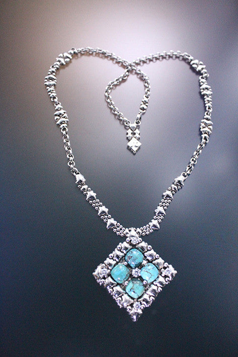 PR N1-AS TUQ– Antique Silver finish and Turquoise Necklace