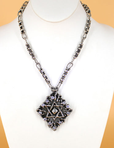 "SG Liquid Metal by Sergio Gutierrez LEN 3411 – Antique silver finish ""Star of David ""necklace"