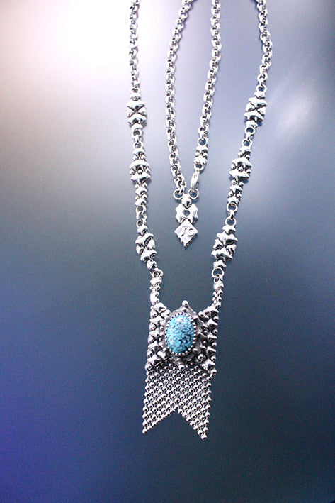 SG Liquid Metal RTN10-AS TUQ – Antique Silver Finish and Turquoise Chain/Necklace by Sergio Gutierrez