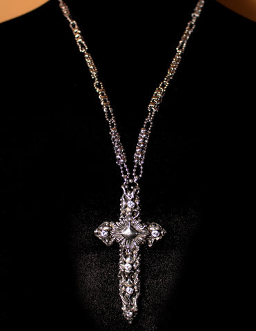 SG Liquid Metal by Sergio Gutierrez LEN 3409 – Antique silver finish - Cross necklace