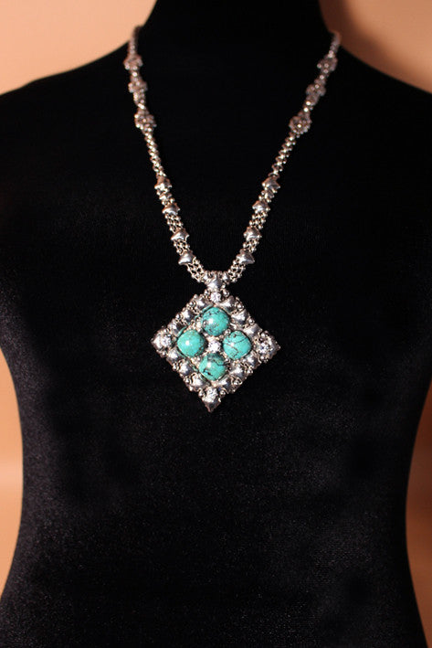 SG Liquid Metal PR N1-AS TUQ– Antique Silver finish and Turquoise Necklace by Sergio Gutierrez