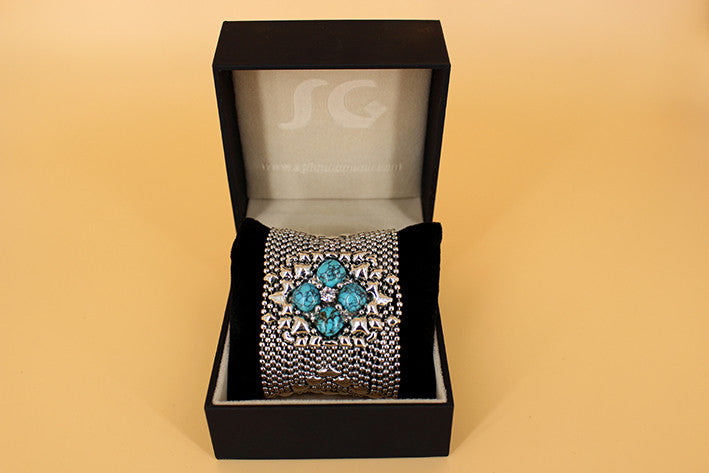 SG Liquid Metal PRB1-AS TUQ – Antique Silver Finish and Turquoise Bracelet by Sergio Gutierrez