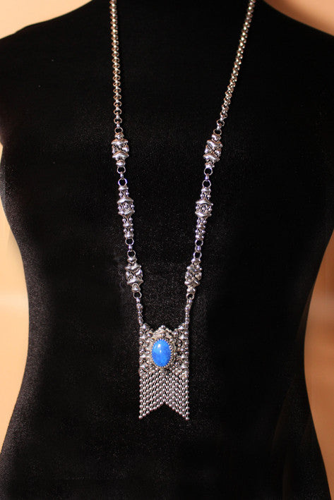 SG Liquid Metal RTN10-AS LAPIS – Antique Silver and Lapis Lazuli Stone Necklace by Sergio Gutierrez
