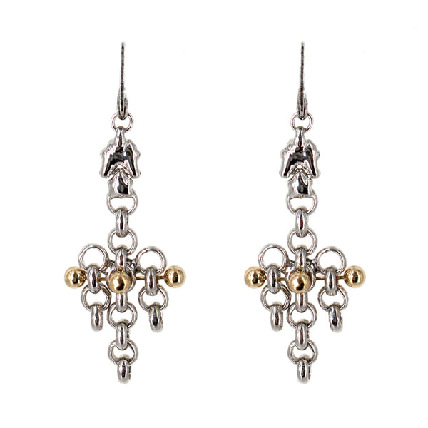 BXE1-N Chrome and Gold Finish Earrings