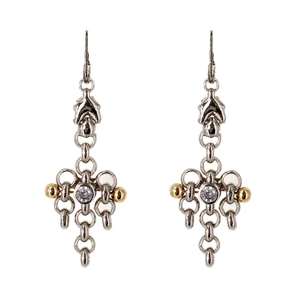 BXE1Z-N Chrome and Gold Finish Earrings