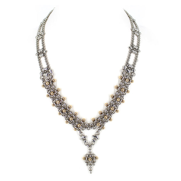 BXN1-N Chrome and Gold Finish Necklace