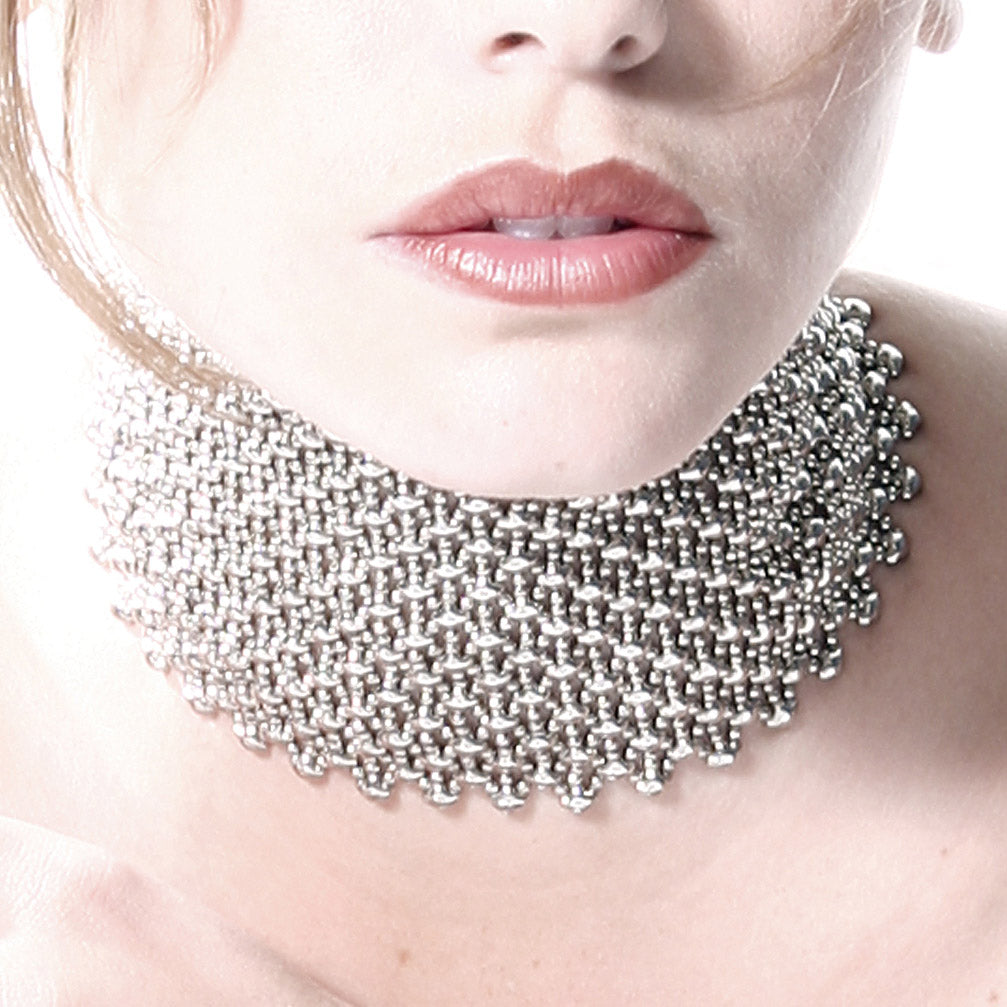 SG Liquid Metal C32 - AS Antique Silver Choker by Sergio Gutierrez