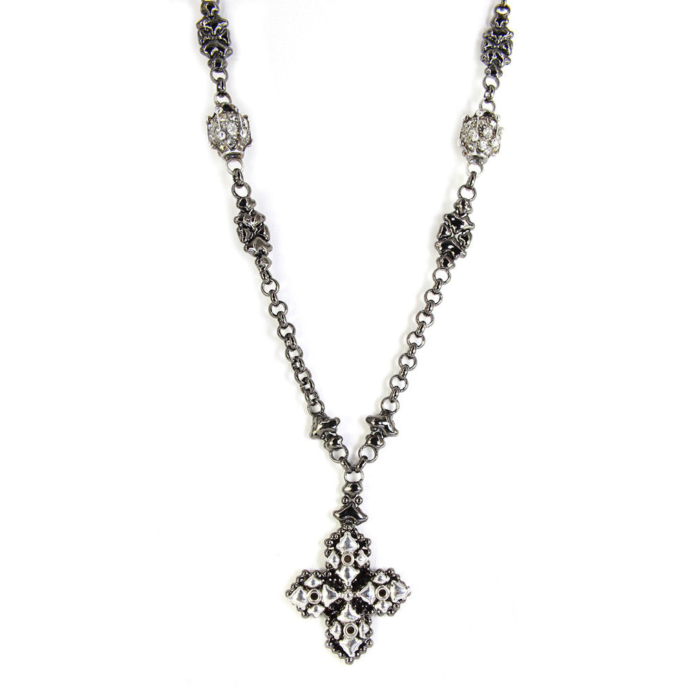 SG Liquid Metal Jewelry by Sergio Gutierrez CH4-BLK-AS Black Chrome & Antique Silver Necklace