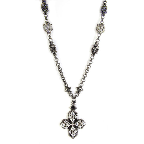 CH4-BLK-AS Black Chrome & Antique Silver Necklace