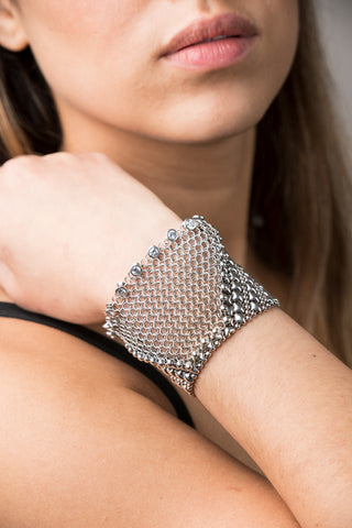 SG Liquid Metal Chainmail CMB6 Z - AS (antique silver finish) Bracelet by Sergio Gutierrez