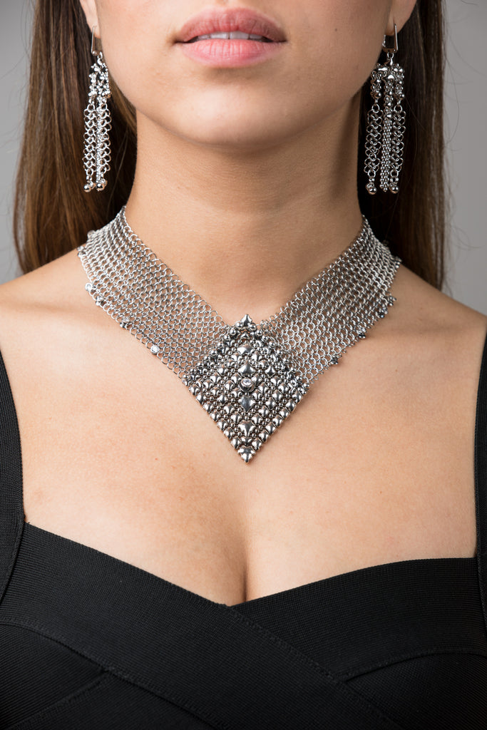 SG Liquid Metal Chainmail CMNeck2 Z – AS (antique silver finish) Necklace by Sergio Gutierrez