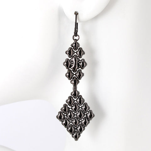 E16-BLK Black Chrome Finish Earrings