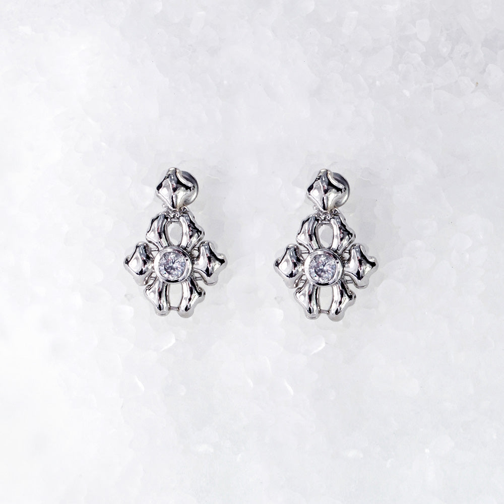 SG Liquid Metal ICE2-N Ice Collection (Chrome Finish) Earrings by Sergio Gutierrez