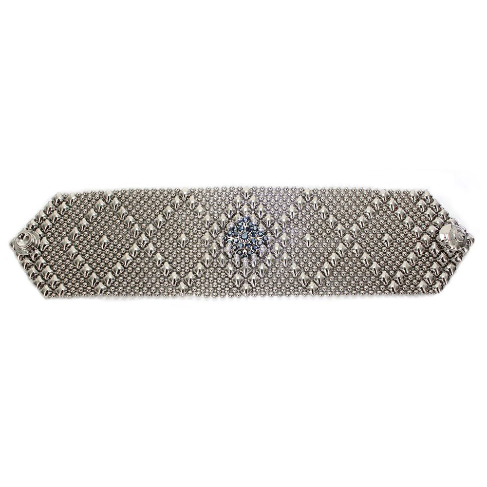 RSB10-N Chrome Finish Bracelet with Swarovsky Crystals