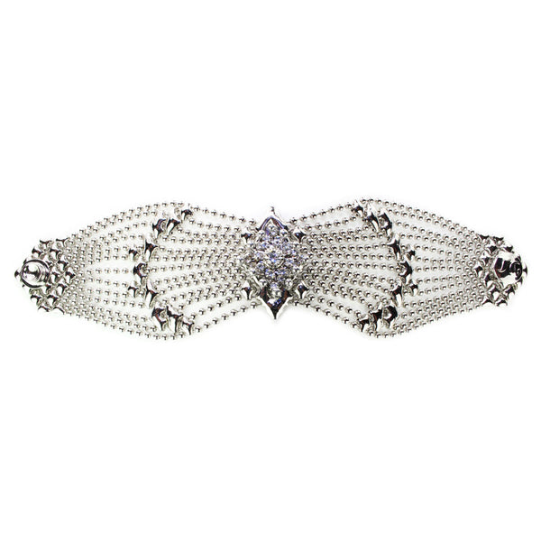 RSB77-N Chrome Finish Bracelet with Swarovsky Crystals