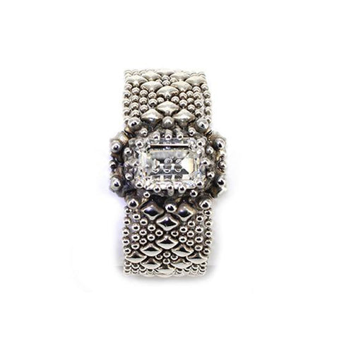 SG Liquid Metal RTB12-AS Antique Silver Bracelet with Swarovsky Crystals by Sergio Gutierrez