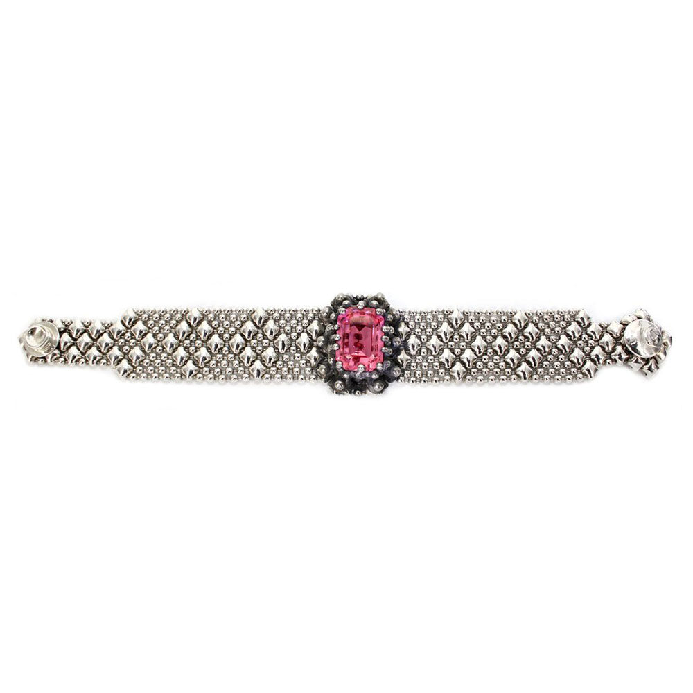 RTB12-AS Antique Silver Bracelet with Swarovsky Crystals
