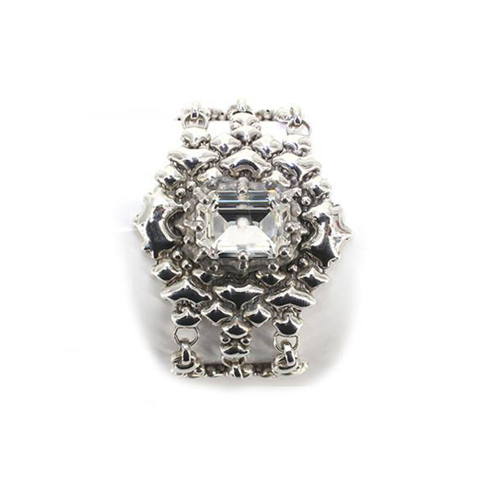 SG Liquid Metal RTB17-AS Antique Silver Bracelet with Swarovsky Crystals by Sergio Gutierrez