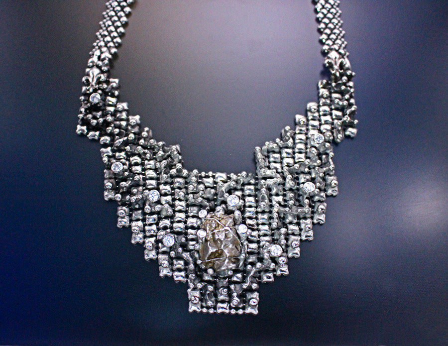 SG Liquid Metal LEN 3919 – AS (antique silver finish) One of a kind Necklace by Sergio Gutierrez