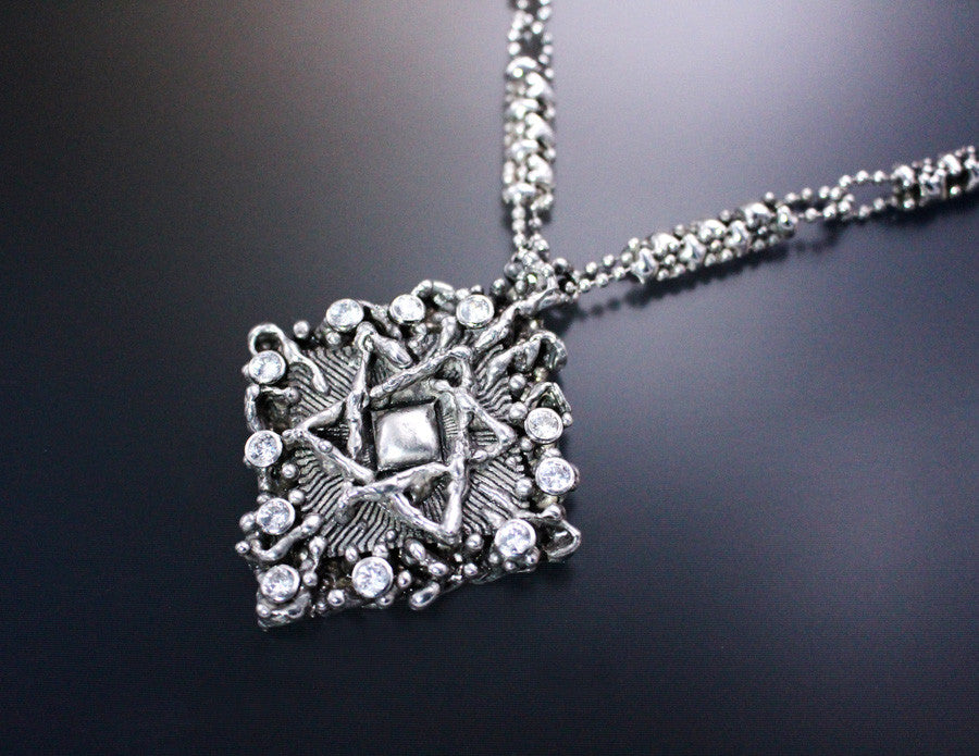 "LEN 3411 – Antique silver finish ""Star of David ""necklace"