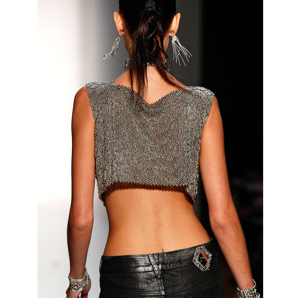 SG Liquid Metal VEST3-N (Chrome Finish) Crop Top by Sergio Gutierrez