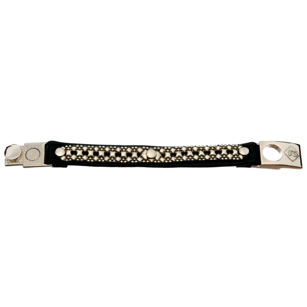 SG Liquid Metal LTBT13 (Chrome Finish & Leather) Bracelet by Sergio Gutierrez