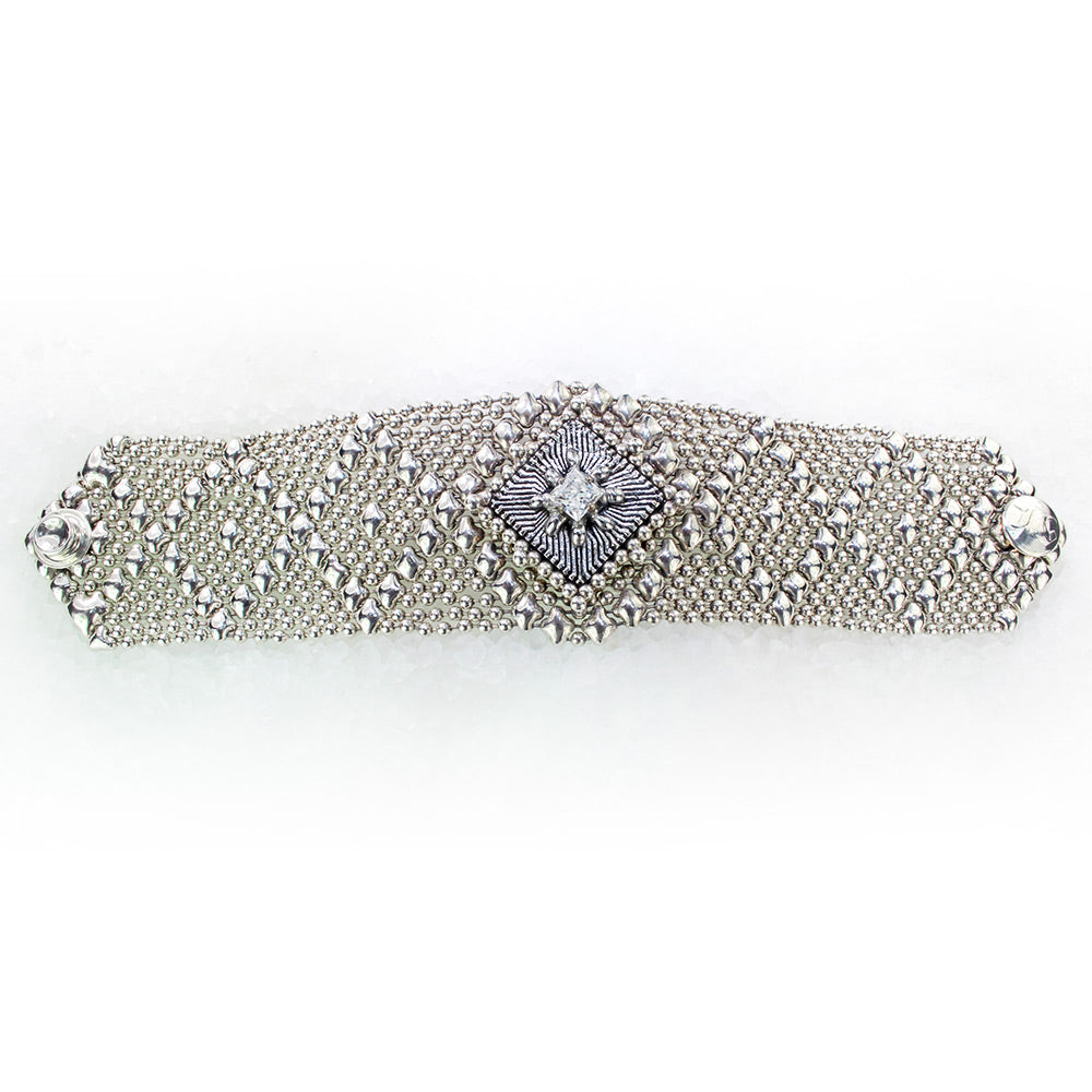 SG Liquid Metal ATB1A-AS Antique Silver Finish Microchip Bracelet with Swarovski Crystal by Sergio Gutierrez