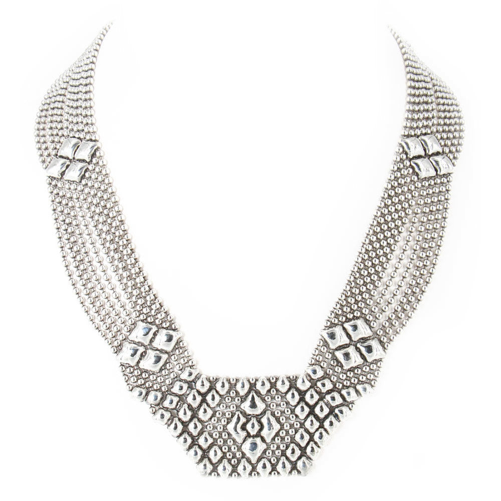 SG Liquid Metal N5-N Chrome Finish Necklace by Sergio Gutierrez