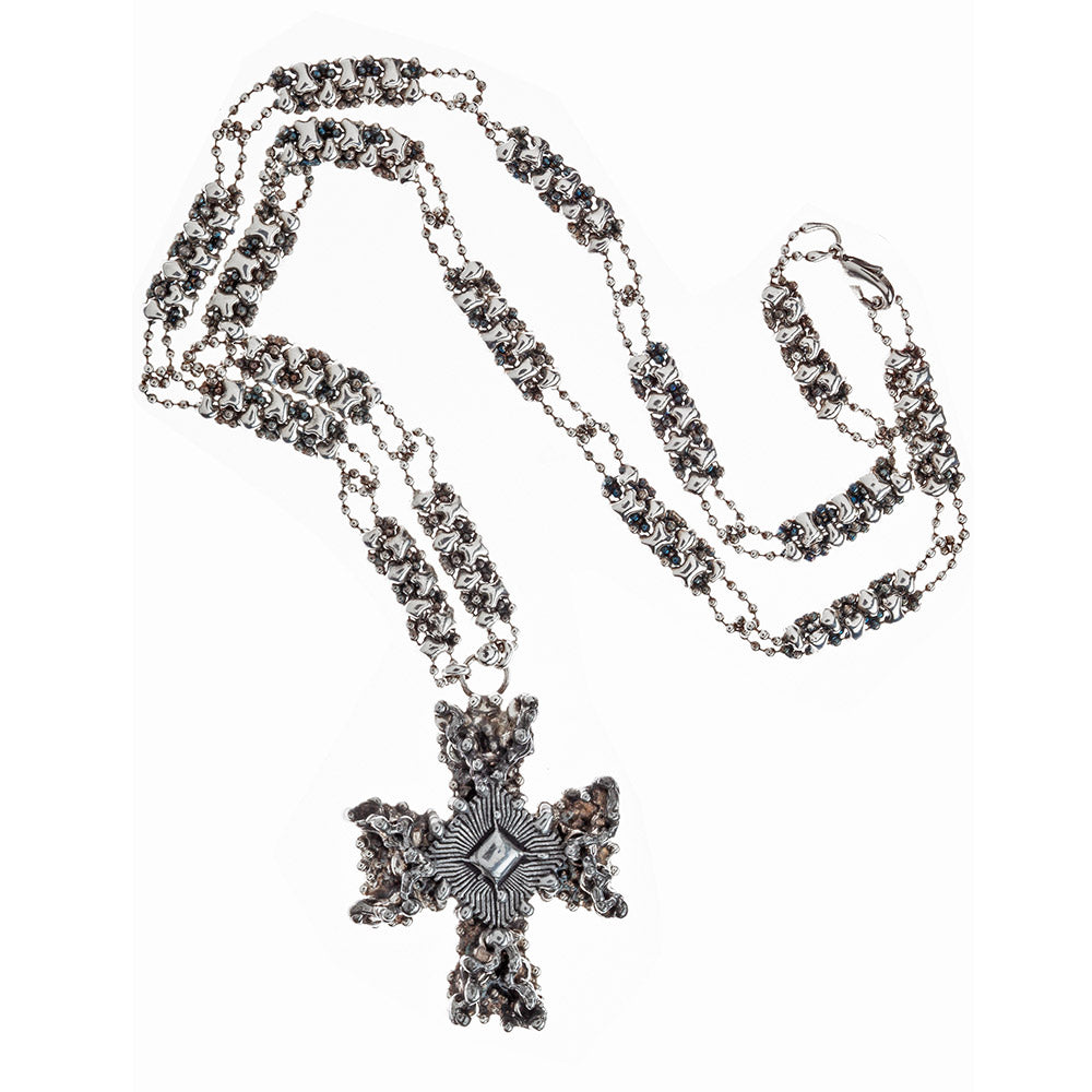 SG Liquid Metal XCR5-AS (Antique Silver Finish) Necklace with Cross by Sergio Gutierrez