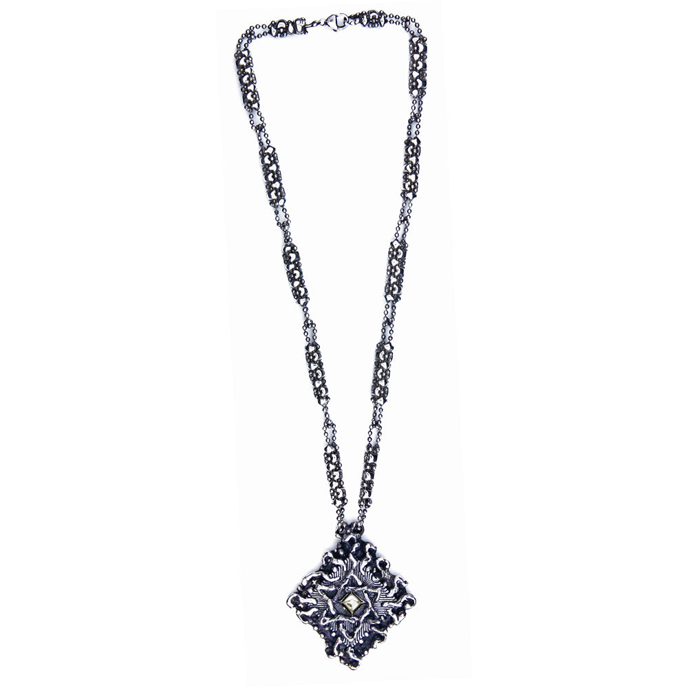 SG Liquid Metal XCR7-AS (Antique Silver Finish) Necklace with Star of David by Sergio Gutierrez