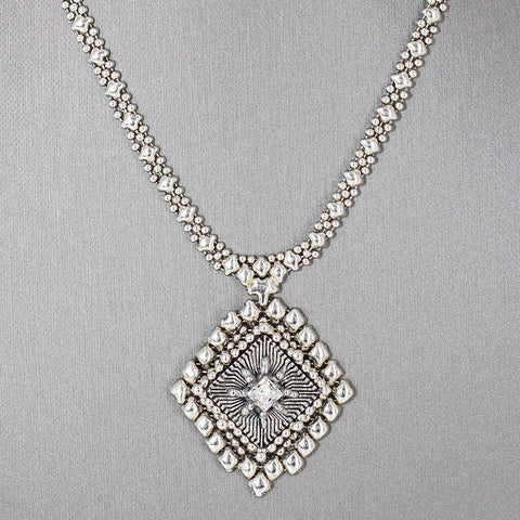 SG Liquid Metal ATN1A-AS Antique Silver Finish Microchip Necklace with Swarovski Crystal by Sergio Gutierrez