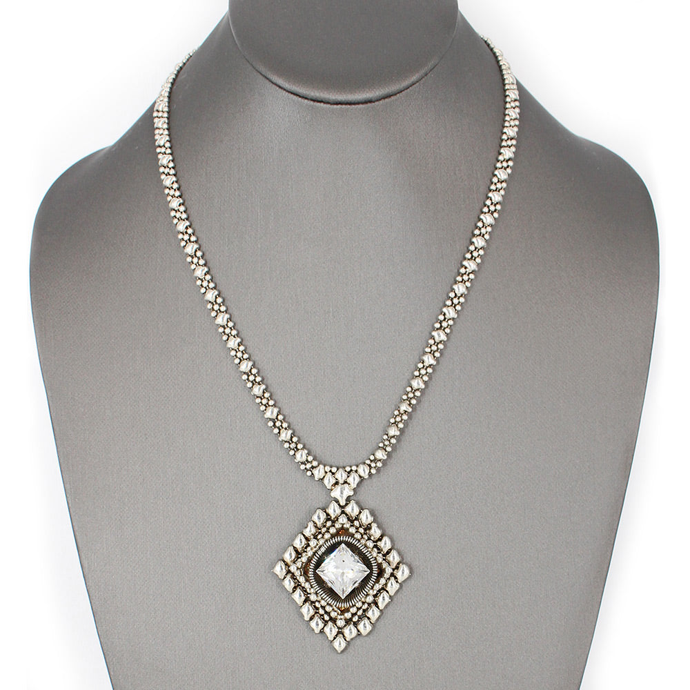 SG Liquid Metal ATN1B-AS Antique Silver Finish Necklace with Swarovski Crystal by Sergio Gutierrez