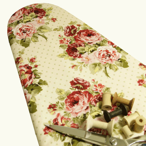 PADDED ironing board cover Vintage Shabby Chic creamy vanilla with pink and rose red cabbage roses and green dots Pick Your Size