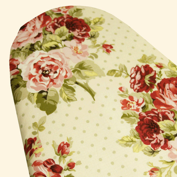 Vintage Shabby Chic creamy vanilla with pink and rose red cabbage roses and celery green dots Ironing Board Cover elastic around the edges