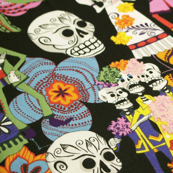 PADDED OVERSIZE Ironing Board Cover 18 x 49 made with Alexander Henry's Day of the Dead in black fabric