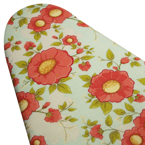 PADDED Ironing Board Cover made with Riley Blake Daydream fabric coral flowers on light blue/aqua backaground