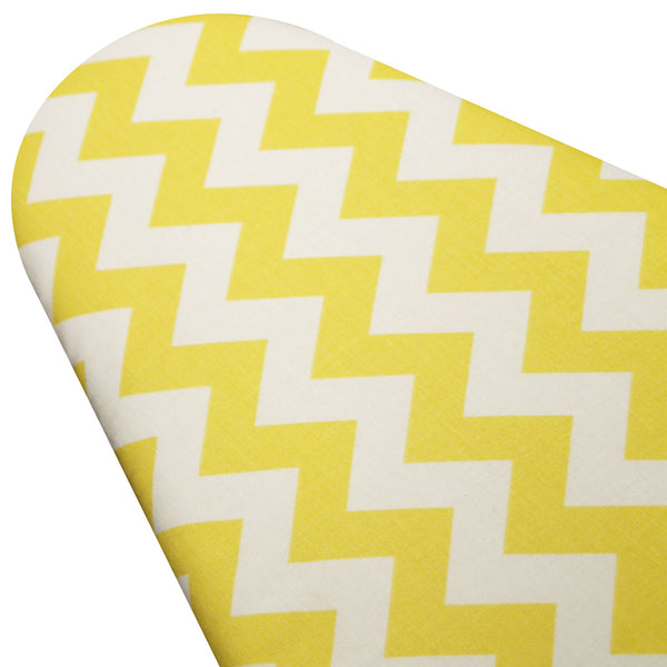 PADDED Ironing Board Cover made with Riley Blake Daffodil Yellow and White Chevron